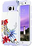 ULAK S7 Edge Case, Galaxy S7 Edge Case, Hybrid Case for Samsung Galaxy S7 Edge 2016 Release 2-Piece Dual Layer Style Hard Cover (Purple+Tropical Flower)