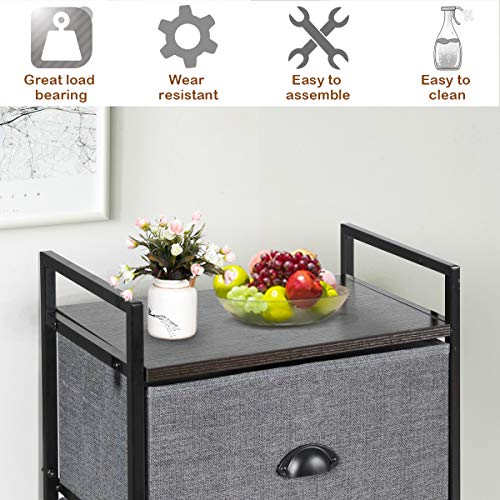 Tangkula Fabric Drawer Dresser with Clothes Rail Shoe Rack, Multifunctional Dresser Storage Tower W/8 Fabric Drawers Metal Frame, Storage Organizer for Closet Hallway Bedroom Living Room (Gray+Black)