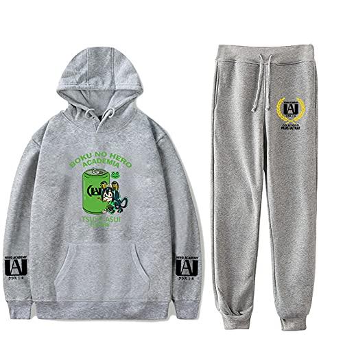 Unisex My Hero Academia Sudadera y Pantalones Jogger Conjunto de Dos Piezas Lindo Dibujo Animado Asui Tsuyu Conjunto Informal Estampado