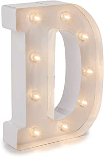 Darice Metal Letter D Marquee Light Up, White