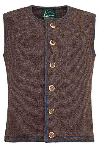 Litzlfelder Herren Herren Trachten-Strickweste braun Jeans, 5566-MITTELBRAUN/JEANS, 54