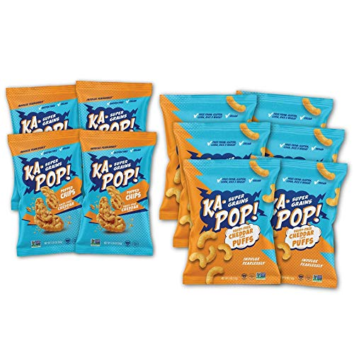 Ka-Pop! Cheddar Lovers Bundle (Cheddar Puffs 1oz, 24 Pack + Cheddar Chips 1oz, 12 Pack) - Vegan, Dairy Free, Gluten Free, Healthy Whole Grain, As seen on Shark Tank