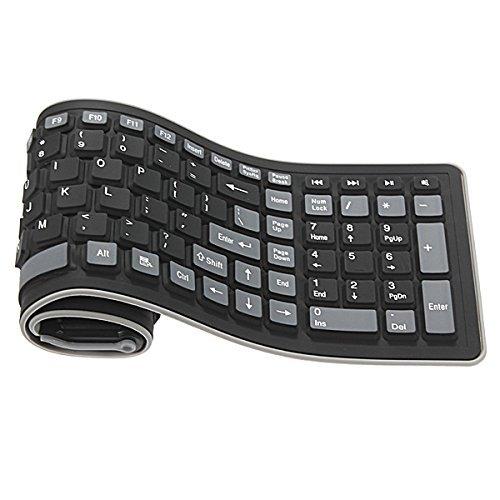 BLUEXIN 2.4Ghz Wireless Waterproof Dustproof Portable Silicone Flexible Folding Roll Up Soft Rubber Keyboard Black