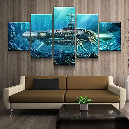 rkmaster-Hd Print Home Decor Leinwanddruck Malerei Wandkunst Flamme Steampunk Submarine Canvas Set