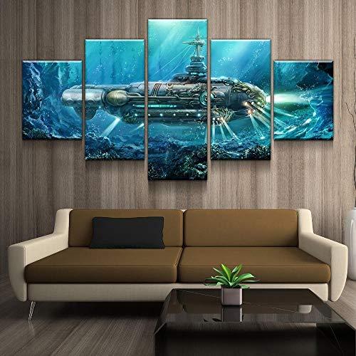 rkmaster-Hd Print Home Decor Leinwanddruck Malerei Wandkunst Flamme Steampunk Submarine Canvas Set