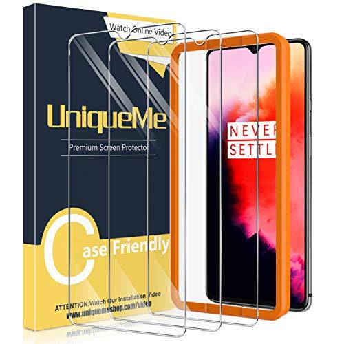 UniqueMe [3 Stück] Schutzfolie für Oneplus 7T Panzerglas, HD klar gehärtetes Glas Bildschirmschutz [9H Festigkeit Folie] [Anti-Fingerabdruck] Bildschirmschutzfolie