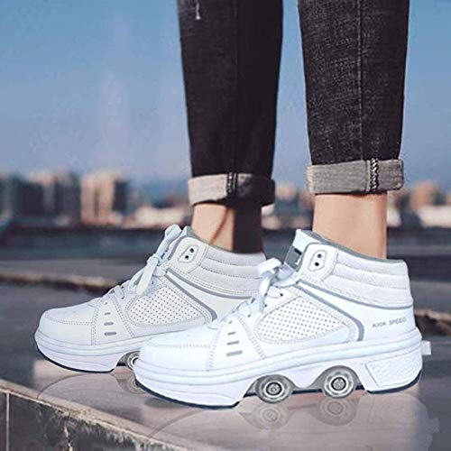 GKZJ Botas De Patines De Cuatro Ruedas Ajustables Zapatos Multiusos 2 En 1 Zapatos para Caminar con Luces LED,EUR36