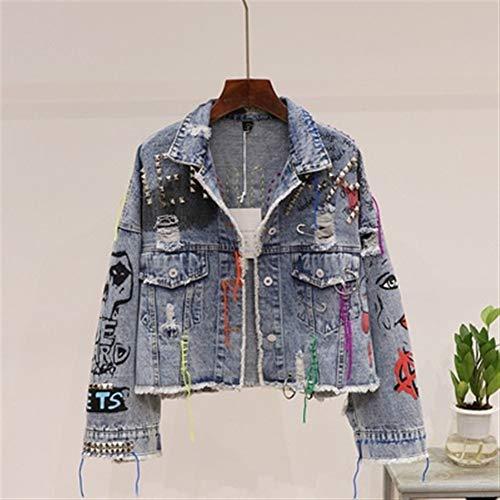 Txrh Ocio Vintage de la letra pintada remiendo del dril de algodón de la chaqueta de las mujeres del vaquero vaqueros raídos espiga del remache del punk Jean capa de la chaqueta