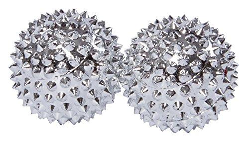 2 magnetische Akupressurkugeln in silber klein, Durchmesser 32 mm