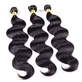 Ruiyu 6A Grade Brazilian Hair Human Hair Weave Bundles Human Hair Extensions Body Wave #1b Color 24 26 28 Inches Pack of 3