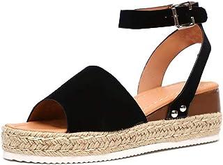 c8302043 Sandalias Cuña Mujer Verano Plataformas Chanclas Correa de Tobillo Sandalias  Punta Abierta Zapatos Marrón Leopardo Gris