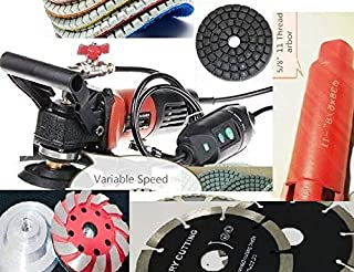 """Wet Polisher Grinder 18 X Diamond 1 3/8"""" core bit hole saw and 4"""" Diamond Polishing Pad Buffer grinding cup 5"""" Cutting Blade for stone granite marble concrete masonry lapidary tile saw cut"""