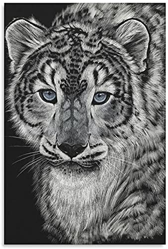 Diy 5d Kit De Pintura De Diamantes Por NúMero Snow Dragon Leopard Stanley Morrison Cuadros Con Diamantes Bordado Punto De Cruz Kits 23.6'x35.4'(60x90cm) Sin Marco
