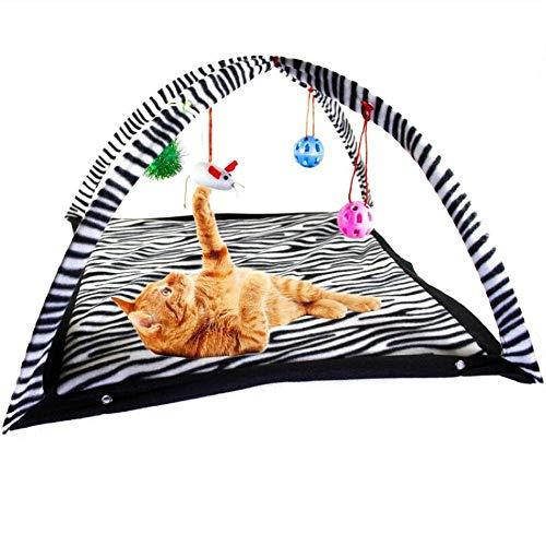 GAO petsuppliesmisc - Materassino interattivo per Gattini e Gatti, Multifunzione, Pieghevole, con sonaglio a Forma di Topolino, Colore: Nero Leopardato
