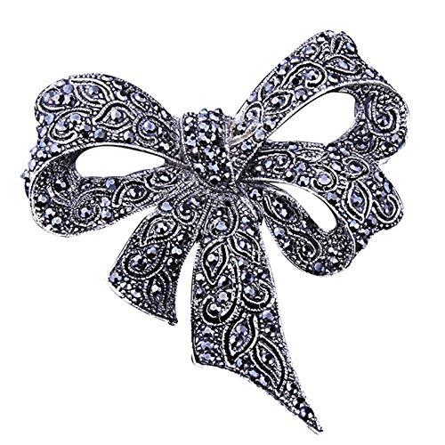 Sprießen Broche De Diamantes De ImitacióN para Damas Vintage, Broche Negro Broche De Broche, JoyeríA De Moda, Accesorios De Vestir, Estilo Elegante como Regalo para Mujer