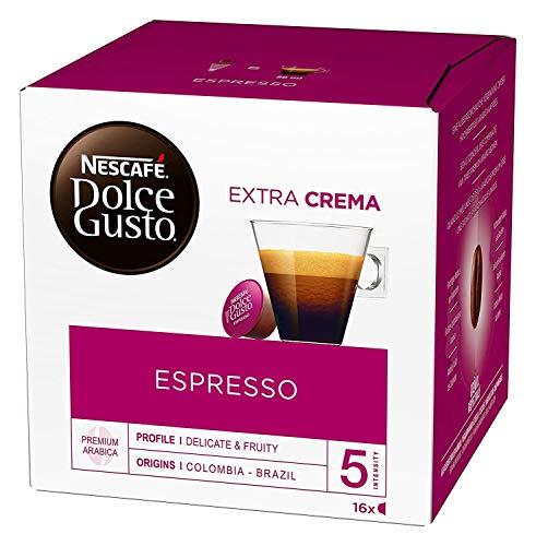NESCAFÉ Dolce Gusto Espresso, 16 Kaffeekapseln, 100% edle Arabica Bohnen, Charaktervoller Espresso, Fruchtige Granatapfelnote, Samtige Crema, Aromaversiegelte Kapseln, 1er Pack (1 x 16 Kapseln)
