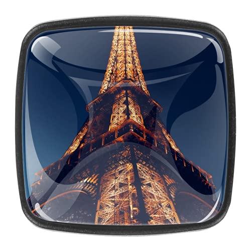 Con tornillos para cocina, aparador, armario, cuarto de baño, pomos para armarios de cocina, pomos de armario de cristal transparente, tiradores de 1.18 pulgadas de diámetro, Torre Eiffel París