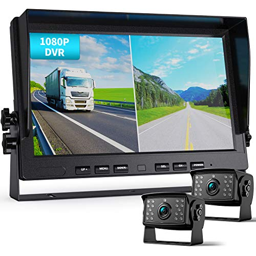 Fookoo Ⅱ HD 1080P Wired Backup Camera System Kit,10 inch Dual Split Screen Monitor with Recording IP69 Waterproof Front View Rear View Cameras Parking Lines for Truck/Semi-Trailer/Box Truck/RV(DY102)