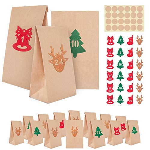 MELLIEX 24 Adventskalender zum Befüllen, Kraftpapiertüten Geschenktüten, 1-24 Adventszahlen Aufkleber Filzaufkleber, Selber Basteln für DIY Weihnachtskalender