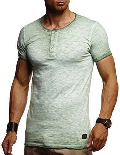 Leif Nelson Herren Sommer T-Shirt Rundhals-Ausschnitt Slim Fit Baumwolle-Anteil Moderner Männer T-Shirt Crew Neck Hoodie-Sweatshirt Kurzarm lang LN8226 Grün X-Large