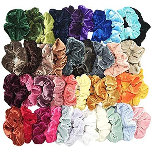 OSYARD 40 Stück Scrunchies Haargummis Mädchen Haar Scrunchies Samt Elastische Haarbänder Pferdeschwanz Haarband mit Tasche Bunten