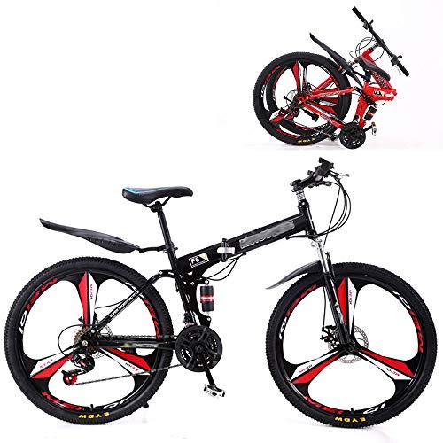HZYD Bicicleta Plegable MontañA 24 Speed Steel Frame Doble AbsorcióN De Impactos Bicicleta 24/26 Pulgadas,Black,26 Inches