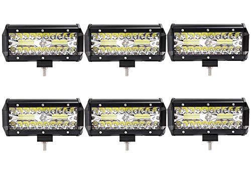 Leetop 6pcs 120W Projecteur Phare de Travail LED Barre de Travail étanche IP67 LED Antibrouillard Feux Diurne Lumière Off Road Lampe Feu de Travail pour Camion 4x4 Tracteur