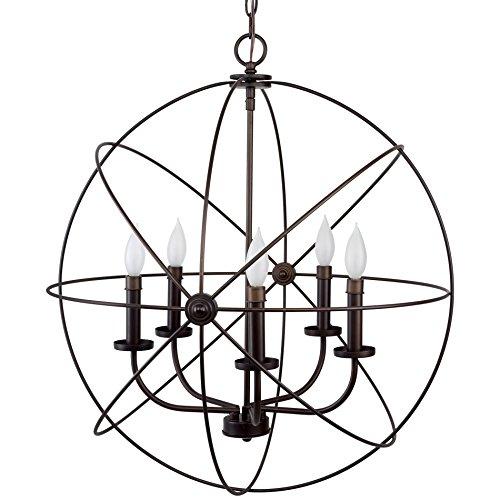 """Revel/Kira Home Orbits II Large 24"""" 5-Light Modern Sphere/Orb Chandelier Bronze"""