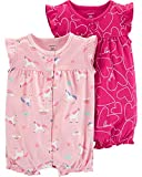 Carter's Baby Girls 2-Pack Romper, Unicorn/Hearts, 24 Months