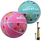 Senston 2 Piezas Balon Baloncesto Balon de Baloncesto de Goma de Tamaño 3
