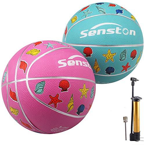Senston 2 Piezas Balon Baloncesto Niños Balon de Baloncesto de Goma de Tamaño 3