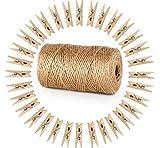 Mostrando fotos Cuerda de yute 10m, 50 pinzas de madera y 12 pines para clavos sin rastreo para...