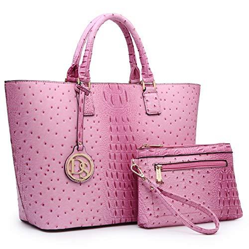DASEIN Women's Handbags Purses Large Tote Shoulder Bag Top Handle Satchel Bag for Work (6-Ostrich Pink)