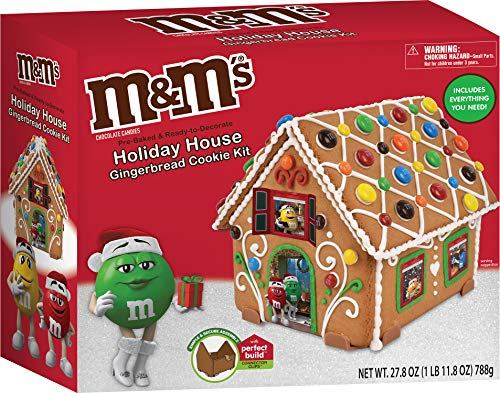 M&M's Holiday House Gingerbread Cookie Kit - 27.8 oz (788g) - Pre-Baked and Ready to Decorate Holiday House - Includes Everything Needed to Decorate and Create - Includes Perfect Build Connector Clips