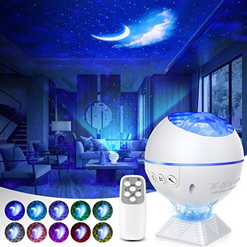 Galaxy Projector 3 in 1 Ocean Wave Projector Night Light Star Projector with Remote Voice Control, Nebula Cloud 360 Pro Star Projector for Ceiling for Adults Kid Adult Bedroom Gift with 43 Light Modes