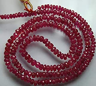 Jewel Beads Natural Beautiful jewellery 14'' Strand, Dark Red Pink Natural Sapphire Faceted Rondelles, BSize 3-4mmCode:- JBB-27135