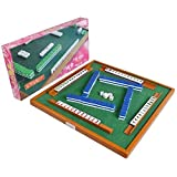 ANZRY Mini Mahjong Set Including Mah Jong Table And Full Size Tiles,Fun Indoor Toys Game Gifts For Christmas Thanksgiving New Year
