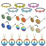 Hotusi 18Pcs Hippie Costume Accessory Set for 60s 70s Dressing Accessory Hippie Party Supplies( 6pcs Peace Sign Necklaces Daisy + 6pcs Daisy Sunflower Headbands+6pcs Retro Round Sunglasses)