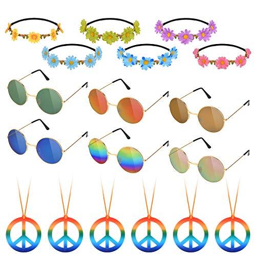 Hotgod Juego de 18 accesorios de disfraz hippie para accesorios de vestir de los años 60 y 70 (6 collares de signo de paz, margaritas + 6 diademas de girasoles+6 gafas de sol redondas retro