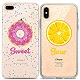 Lex Altern Couple Case for iPhone 11 Pro Xs Max 10 X Xr 8 Plus 7 6s SE 5s Pink Food Protective Sour Soulmate BFFs Slim Lemon Donut Sweet Yellow TPU Girlfriend Lightweight Clear Silicone