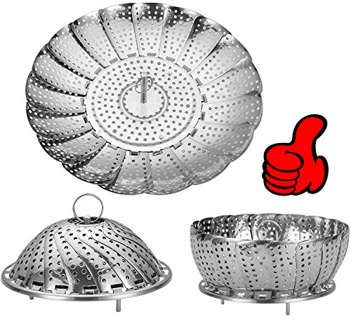 Vegetable Steamer Basket, Stainless Steel Folding Steamer Basket Insert for Veggie Fish Seafood Cooking, 100% Stainless Steel Steamer Insert expandable to Fit Various Size Pot(6' to 10.5')