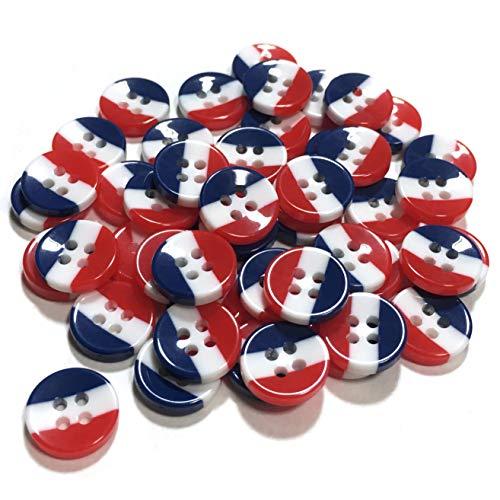 【エデンボタン】青 白 赤 フランス国旗柄 トリコロール ボタン 11.3mm 4つ穴 約 50枚 [B-05]