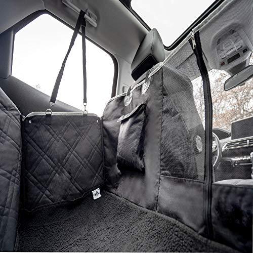Autositzbezug Für Hunde Mit Hundedecke Rückbank 【Video + 10 Jahre Garantie】- 900D Premium Qualität - Wasserdicht und rutschfest mit Sichtfenster - Hundesitzbezug mit Bezug (137 * 147cm) / (Schwarz)