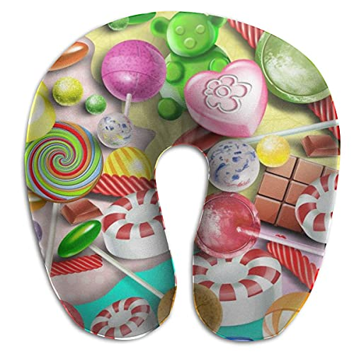 Almohada en Forma de U con Cuello Colorido Lollipop Travel Almohada Multifuncional Coche Avión