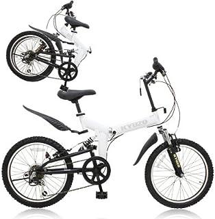 KYUZO 20インチ 折りたたみ自転車 6段変速にZOOM製フロントサス、リアサスを搭載した自転車の九蔵別注MTB! KZ-100 (マットホワイト)