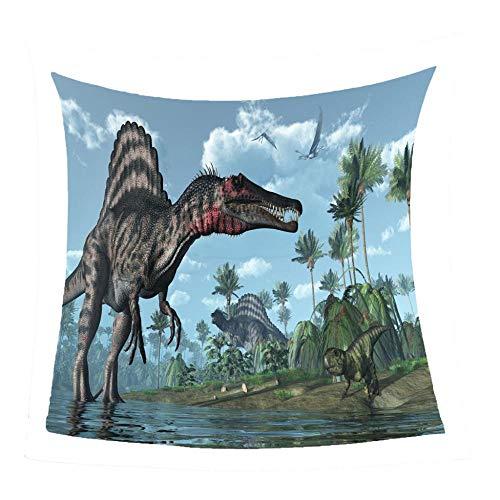 WonWg Dinosaurio Junto al río Manta De Felpa Suave Mantas De Lana Térmica Ligeras Y Cálidas para Sofá Cama Todas Las Estaciones 60'X85'