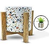 Macetas de interior hechas a mano de metal con soportes de madera, pequeñas macetas de pie para plantas de interior, adecuadas para suculentas, hierbas y macetas de balcón