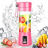 Mash Portable Blender, Personal Size Electric Rechargeable USB Juicer Cup, Fruit Mixer Machine with 4 Blades for Home and Travel (380 ml, Multicolor)