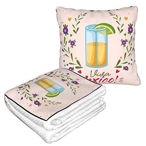 KIMDFACE Manta de Viaje súper Suave,Imagen de Vaso de chupito con Letras de Viva Mexico y Bonitas Ramas Florales artísticas,Manta Plegable,Almohada cómoda
