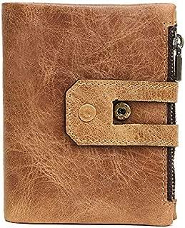 Leather Men's Wallet RFID Card Bag Men's Double Zipper Purse Buckle Short Men's Wallet. JJXSHLFLL (Color : Brown, Size : S)